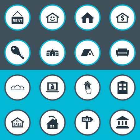 Illustration pour Vector Illustration Set Of Simple Property Icons - image libre de droit