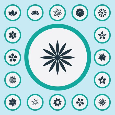 Illustration pour Vector Illustration Set Of Simple Flower Icons - image libre de droit