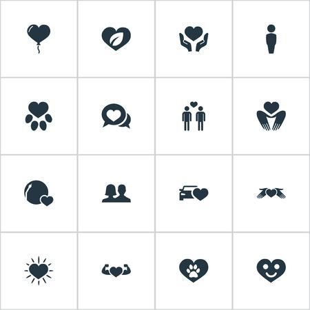 Ilustración de Vector Illustration Set Of Simple Valentine Icons - Imagen libre de derechos
