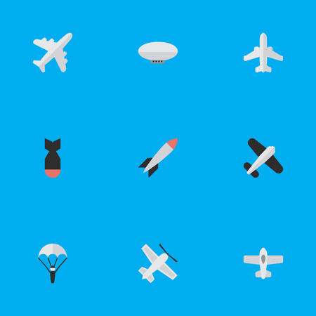 Illustration pour Vector Illustration Set Of Simple Airplane Icons. Elements Plane, Balloons, Catapults And Other Synonyms Flying, Airplane And Catapults. - image libre de droit