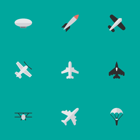 Illustration pour Vector Illustration Set Of Simple Aircraft Icons. Elements Balloons, Flying Vehicle, Airplane And Other Synonyms Man, Bomb And Dynamite. - image libre de droit
