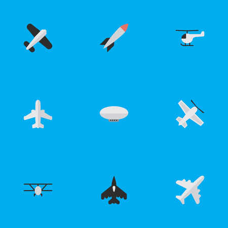 Illustration pour Vector Illustration Set Of Simple Airplane Icons. Elements Aircraft, Balloons, Craft And Other Synonyms Aircraft, Vehicle And Rocket. - image libre de droit