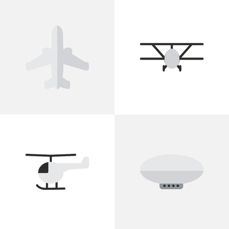 Illustration pour Vector Illustration Set Of Simple Aircraft Icons. Elements Copter, Airliner, Balloons And Other Synonyms Aircraft, Aviation And Helicopter. - image libre de droit