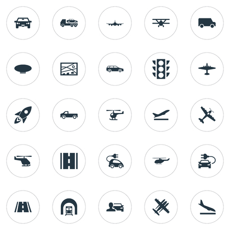 Illustration pour Elements Evacuator, Blimp, City Plan And Other Synonyms Downgrade, Van And Ecological.  Vector Illustration Set Of Simple Transportation Icons. - image libre de droit