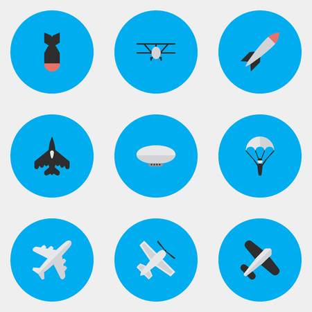Illustration pour Vector Illustration Set Of Simple Aircraft Icons. Elements Catapults, Aviation, Bomb And Other Synonyms Balloons, Vehicle And Parachute. - image libre de droit