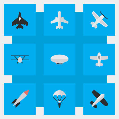 Illustration pour Vector Illustration Set Of Simple Aircraft Icons. Elements Airplane, Craft, Aviation And Other Synonyms Airship, Flying And Bomb. - image libre de droit
