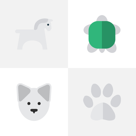 Ilustración de Vector Illustration Set Of Simple Wild Icons. Elements Tortoise, Foot, Steed And Other Synonyms Footprint, Pet And Paw. - Imagen libre de derechos