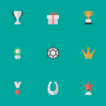 Illustration for Vector Illustration Set Of Simple Champion Icons. Elements Reward, Metal, Present And Other Synonyms Award, Reward And Surprise. - Royalty Free Image