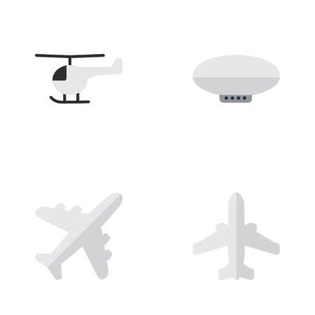 Illustration pour Vector Illustration Set Of Simple Plane Icons. Elements Airliner, Balloons, Aircraft And Other Synonyms Airship, Airplane And Airliner. - image libre de droit