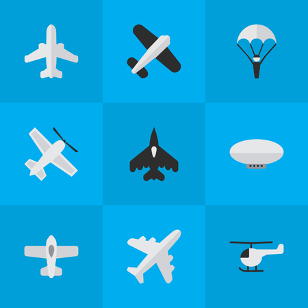 Illustration pour Vector Illustration Set Of Simple Aircraft Icons. Elements Copter, Aviation, Catapults And Other Synonyms Aircraft, Vehicle And Flying. - image libre de droit