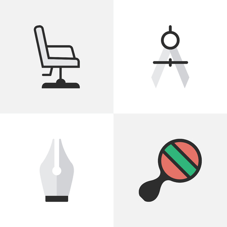 Illustration pour Vector Illustration Set Of Simple Education Icons. Elements Nib, Armchair, Measurement Dividers And Other Synonyms Measurement, Pong And Ping. - image libre de droit