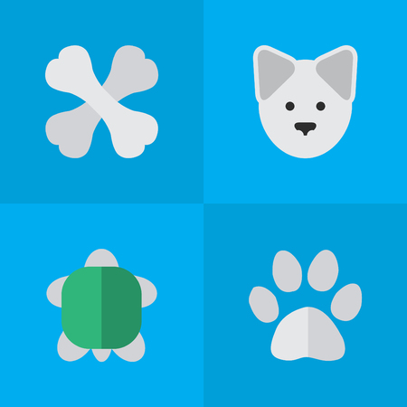 Ilustración de Elements Skeleton, Wolf, Tortoise And Other Synonyms Food, Turtle And Foot.  Vector Illustration Set Of Simple Wild Icons. - Imagen libre de derechos