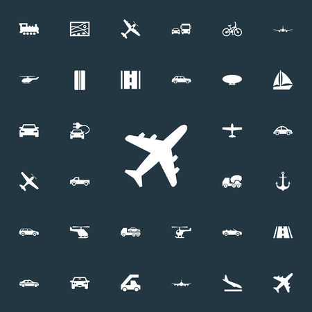 Illustration pour Elements Downgrade, Agricultural Aircraft, Automotive And Other Synonyms Airliner, Ecological And Plane.  Vector Illustration Set Of Simple Shipment Icons. - image libre de droit