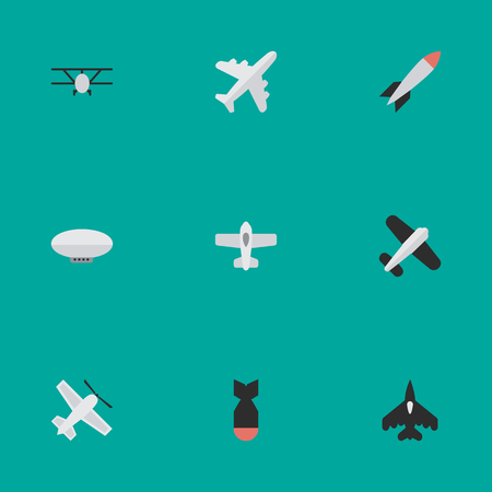 Illustration pour Elements Plane, Bomb, Balloons And Other Synonyms Bomb, Vehicle And Aviation.  Vector Illustration Set Of Simple Plane Icons.  - image libre de droit