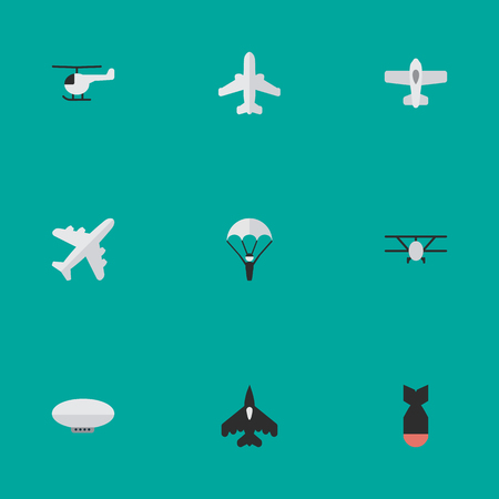 Illustration pour Vector Illustration Set Of Simple Airplane Icons. Elements Plane, Airliner, Balloons And Other Synonyms Chopper, Craft And Man. - image libre de droit