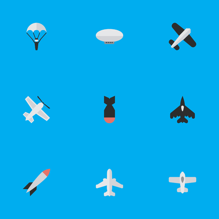 Illustration pour Elements Craft, Flying Vehicle, Catapults And Other Synonyms Craft, Plane And Balloons.  Vector Illustration Set Of Simple Airplane Icons. - image libre de droit