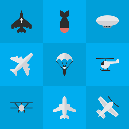 Illustration pour Vector Illustration Set Of Simple Aircraft Icons. Elements Flying Vehicle, Airplane, Airliner And Other Synonyms Plane, Aviation And Rocket. - image libre de droit