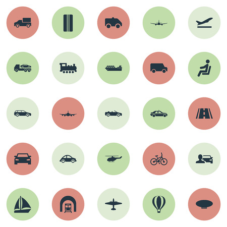 Illustration pour Elements Aeration, Evacuator, Blimp And Other Synonyms Airplane, Boat And Trailer.  Vector Illustration Set Of Simple Transportation Icons. - image libre de droit