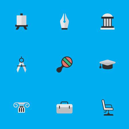 Illustration pour Elements Measurement Dividers, Academic Hat, University And Other Synonyms Ping, Painting And University.  Vector Illustration Set Of Simple Education Icons. - image libre de droit