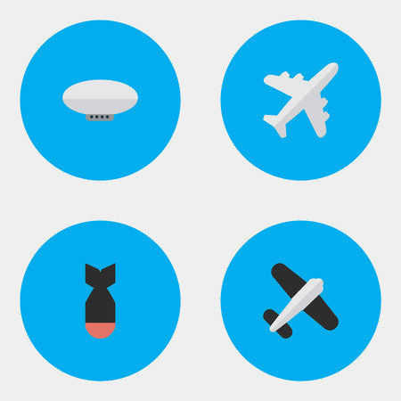 Illustration pour Elements Balloons, Aircraft, Aviation And Other Synonyms Dynamite, Airplane And Airship.  Vector Illustration Set Of Simple Airplane Icons. - image libre de droit