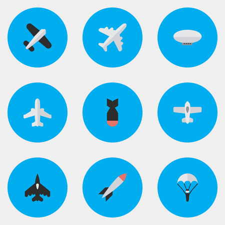 Illustration pour Elements Rocket, Flying Vehicle, Plane And Other Synonyms Balloons, Airliner And Plane.  Vector Illustration Set Of Simple Aircraft Icons. - image libre de droit