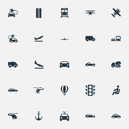 Illustration pour Vector Illustration Set Of Simple Shipment Icons. Elements Aeration, Helicopter, Metro And Other Synonyms City, Downgrade And Helicopter. - image libre de droit