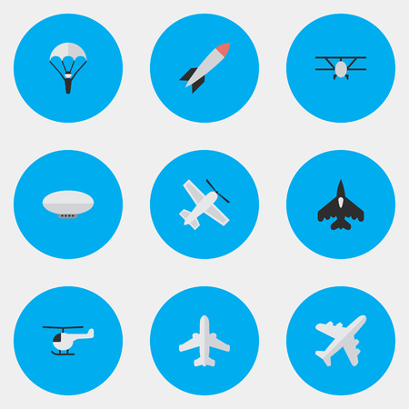 Illustration pour Vector Illustration Set Of Simple Plane Icons. Elements Craft, Bomb, Flying Vehicle And Other Synonyms Aircraft, Chopper And Rocket. - image libre de droit