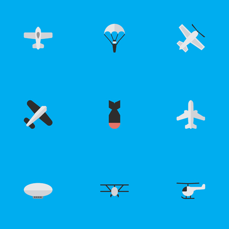 Illustration pour Vector Illustration Set Of Simple Aircraft Icons. Elements Aviation, Craft, Copter And Other Synonyms Parachute, Flying And Helicopter. - image libre de droit
