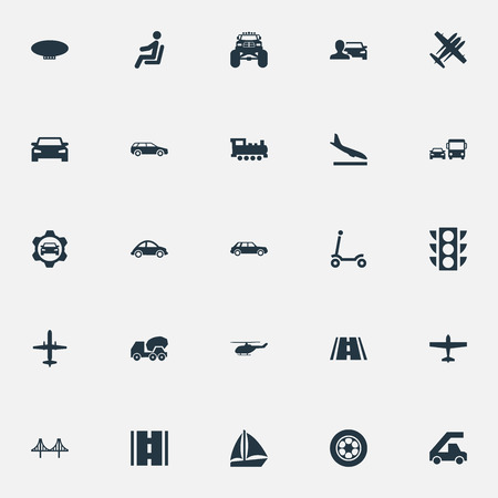 Illustration pour Vector Illustration Set Of Simple Transport Icons. Elements Downgrade, Automobilist, Yacht And Other Synonyms Bomber, Public And Stoplight. - image libre de droit