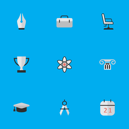Illustration pour Vector Illustration Set Of Simple Knowledge Icons. Elements Measurement Dividers, Academic Hat, Goblet And Other Synonyms University, Column And Nuclear. - image libre de droit
