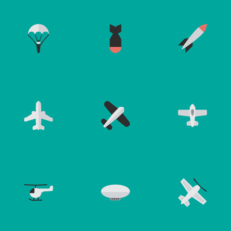 Illustration pour Vector Illustration Set Of Simple Airplane Icons. Elements Copter, Craft, Catapults And Other Synonyms Vehicle, Balloons And Plane. - image libre de droit