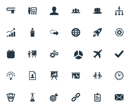 Illustration for Vector Illustration Set Of Simple Strategy Icons. Elements Rising Up, Efficient, Team And Other Synonyms Staff, Opposite And Spaceship. - Royalty Free Image