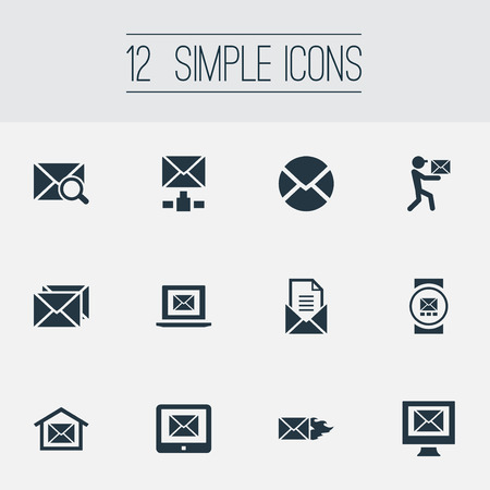 Ilustración de Vector Illustration Set Of Simple Mail Icons. Elements Pages, Mailman, Sending And Other Synonyms Burn, Symbol And Tablet. - Imagen libre de derechos