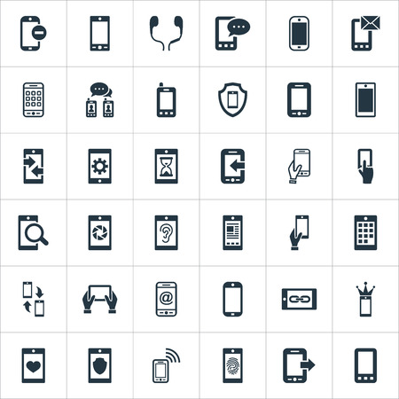 Ilustración de Vector Illustration Set Of Simple Mobile Icons. Elements Synchronization, Hearing, Missing Ring And Other Synonyms Communication, Technology And Incoming. - Imagen libre de derechos