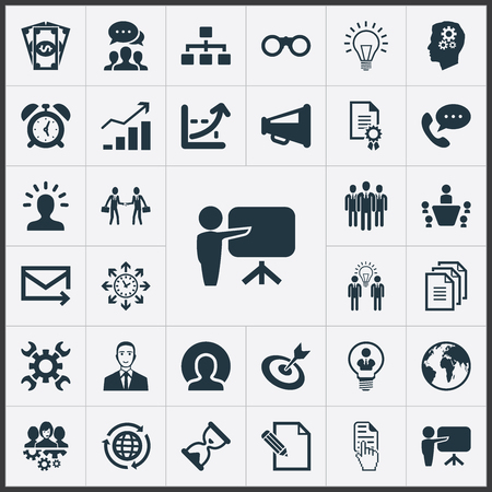 Illustration for Vector Illustration Set Of Simple Strategy Icons. Elements Increase, Head, Brainstorming And Other Synonyms Letter, Cash And Phone. - Royalty Free Image