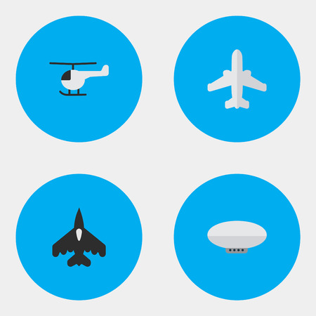 Illustration pour Vector Illustration Set Of Simple Plane Icons. Elements Balloons, Copter, Flying Vehicle And Other Synonyms Airplane, Copter And Airship. - image libre de droit