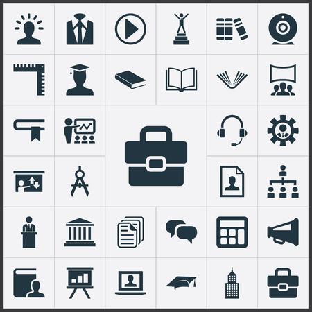 Ilustración de Vector Illustration Set Of Simple Speaker Icons. Elements Encyclopedia, Graduation Cap, Personal Suitcase And Other Synonyms Headphones, Profile And Lecture. - Imagen libre de derechos