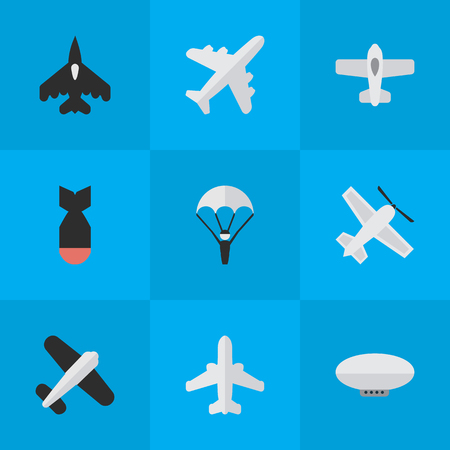 Illustration pour Vector Illustration Set Of Simple Aircraft Icons. Elements Catapults, Craft, Rocket And Other Synonyms Parachute, Aviation And Balloons. - image libre de droit