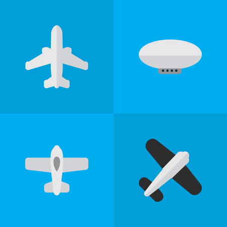 Illustration pour Vector Illustration Set Of Simple Airplane Icons. Elements Aviation, Plane, Balloons And Other Synonyms Airliner, Aviation And Balloons. - image libre de droit