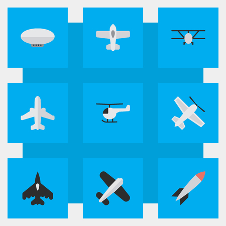 Illustration pour Vector Illustration Set Of Simple Aircraft Icons. Elements Aviation, Airliner, Balloons And Other Synonyms Copter, Airliner And Flying. - image libre de droit