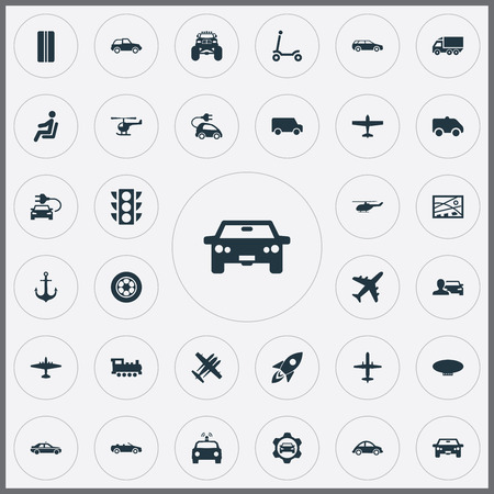 Illustration pour Elements Motor Lorry, City Plan, Airliner And Other Synonyms Aircraft, Stoplight And Ambulance.  Vector Illustration Set Of Simple Transportation Icons. - image libre de droit