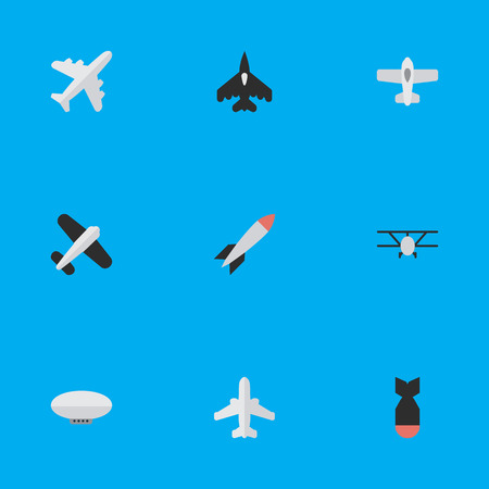 Illustration pour Elements Flying Vehicle, Plane, Rocket And Other Synonyms Bomb, Rocket And Plane.  Vector Illustration Set Of Simple Airplane Icons. - image libre de droit