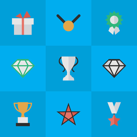 Illustration for Elements Reward, First, Gemstone And Other Synonyms Gift, First And Expensive.  Vector Illustration Set Of Simple Reward Icons. - Royalty Free Image