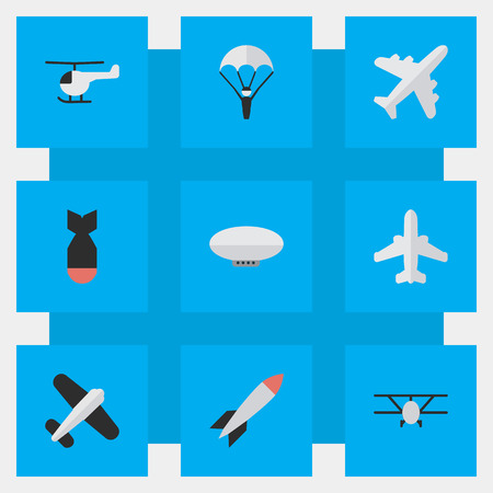Illustration pour Elements Rocket, Airliner, Balloons And Other Synonyms Craft, Airplane And Aircraft.  Vector Illustration Set Of Simple Aircraft Icons. - image libre de droit