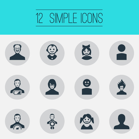 Ilustración de Elements Portrait, Award Owner, Little Girl And Other Synonyms Mad, Mustaches And Award.  Vector Illustration Set Of Simple Member Icons. - Imagen libre de derechos