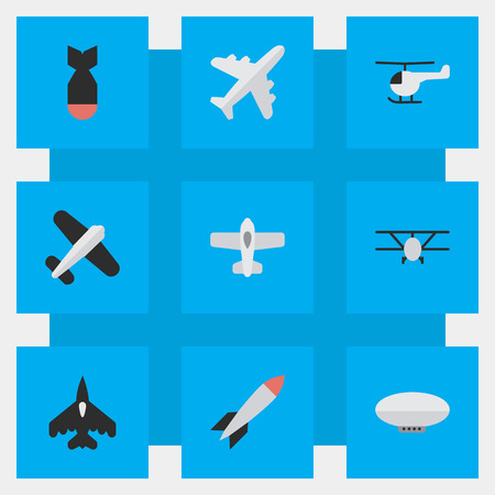 Illustration pour Vector Illustration Set Of Simple Plane Icons. Elements Airplane, Aviation, Plane And Other Synonyms Aircraft, Chopper And Copter. - image libre de droit