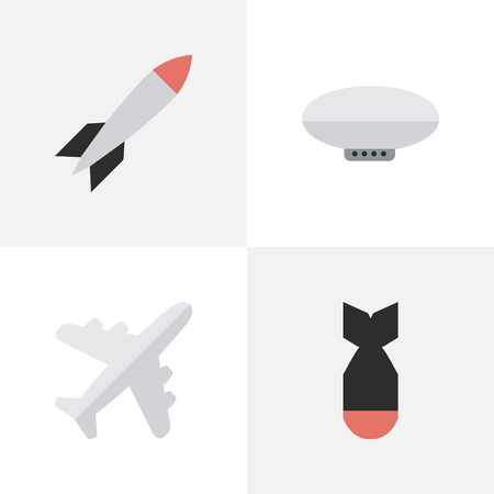 Illustration pour Vector Illustration Set Of Simple Plane Icons. Elements Rocket, Bomb, Balloons And Other Synonyms Plane, Craft And Bomb. - image libre de droit