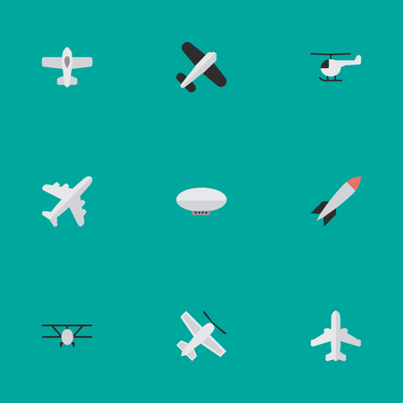 Illustration pour Vector Illustration Set Of Simple Airplane Icons. Elements Airliner, Craft, Airplane And Other Synonyms Copter, Balloons And Vehicle. - image libre de droit