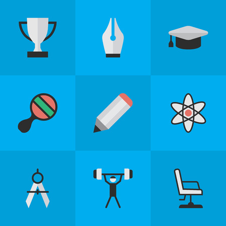 Illustration pour Vector Illustration Set Of Simple Knowledge Icons. Elements Nib, Academic Hat, Bodybuilding And Other Synonyms Championship, Molecule And Pong. - image libre de droit