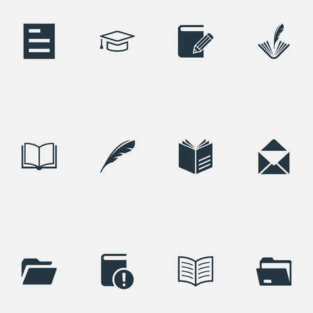 Photo pour Elements Studying, Poetry, Folder And Other Synonyms File, Diary And Document.  Vector Illustration Set Of Simple Knowledge Icons. - image libre de droit